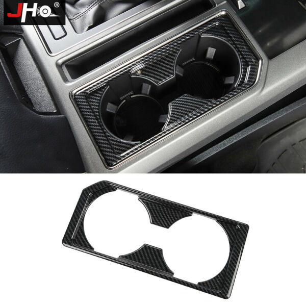 ABS Carbon Grain Water Cup Holder Panel Overlay Cover For Ford F150 2015 2020 19 $32.30