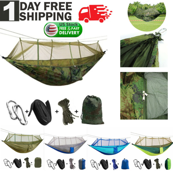 Camping Double Hammock with Mosquito Net Outdoor Garden Hanging Bed Swing Chair $26.99