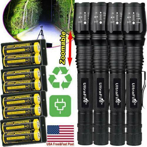 Zoomable Ultrafire Tactical 350000LM 5-Modes T6 LED Focus Flashlight Torch L