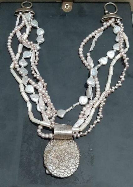 100% unique preal handmade Necklace  with sterling silver cover 925 130 gram