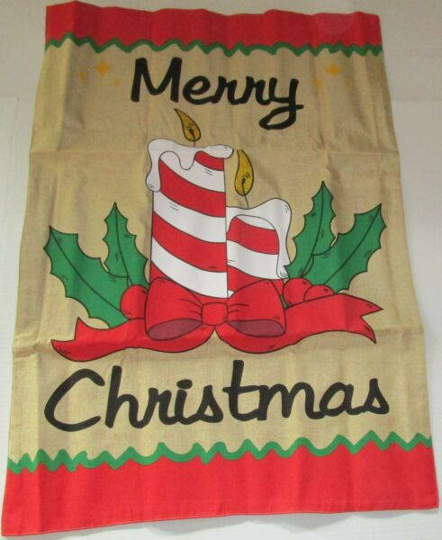 CHRISTMAS Decorative Yard Flag 28quot; X 40quot; MERRY CHRISTMAS BURLAP MATERIAL
