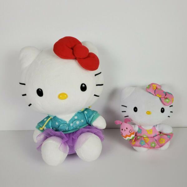 Lot of 2 Hello Kitty Sanrio Plush 2013 10 inchl and 2015 6 inch Easter