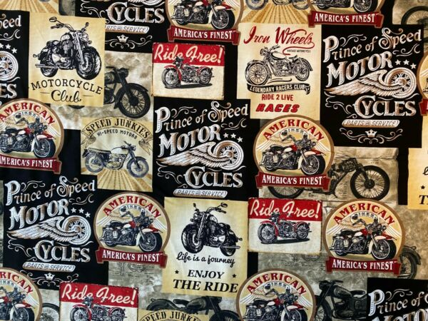 MOTORCYCLE CLASSIC BIKER VINTAGE ADS COLORS COTTON FABRIC FQ