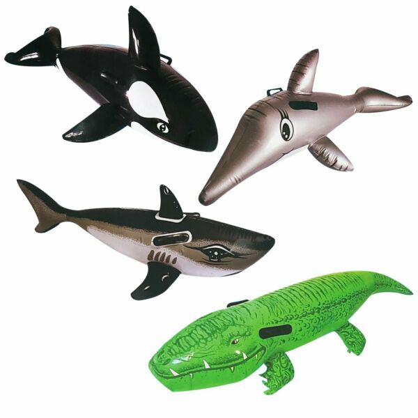 Pool Toys Floating Riders w Handles Dolphin Crocodile Whale Shark Kids Set of 4 $26.95