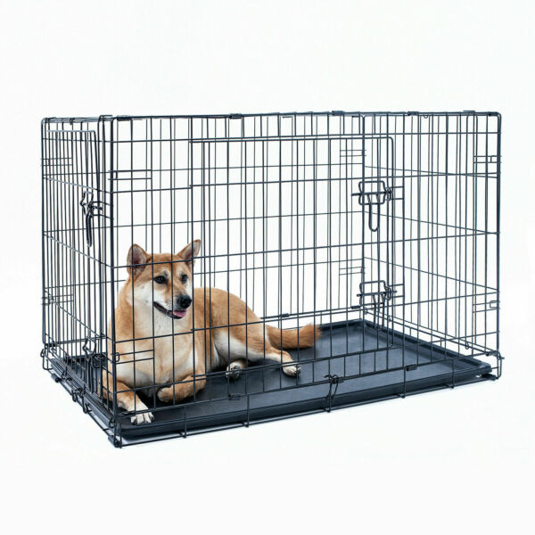 20quot; 24quot; 30quot; 36quot; 42quot; 48quot; Dog Crate 1 2 Door w Divide Fold Metal Pet Cage Kennel $19.99