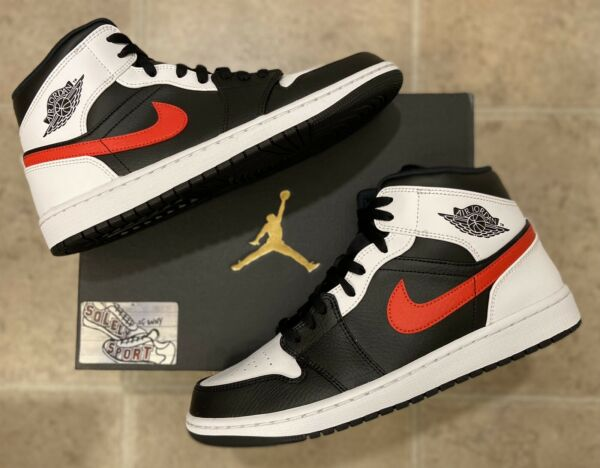 New Nike Air Jordan 1 Retro Mid Chicago Toe Black Red 2020 Basketball Mens Size