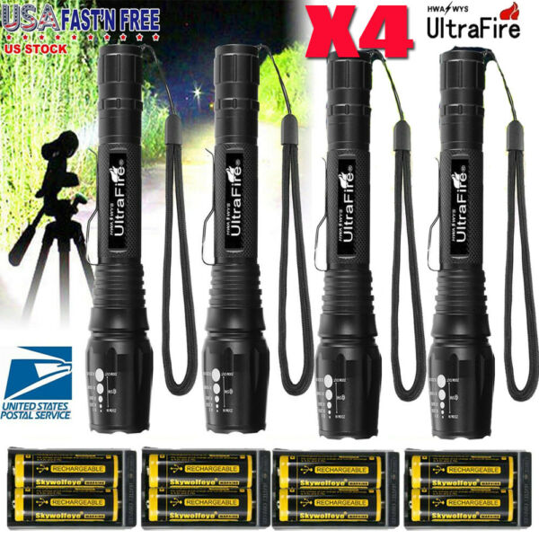 Zoomable Ultrafire Tactical 350000LM 5Mode Focus Flashlight T6 LED Torch Charger