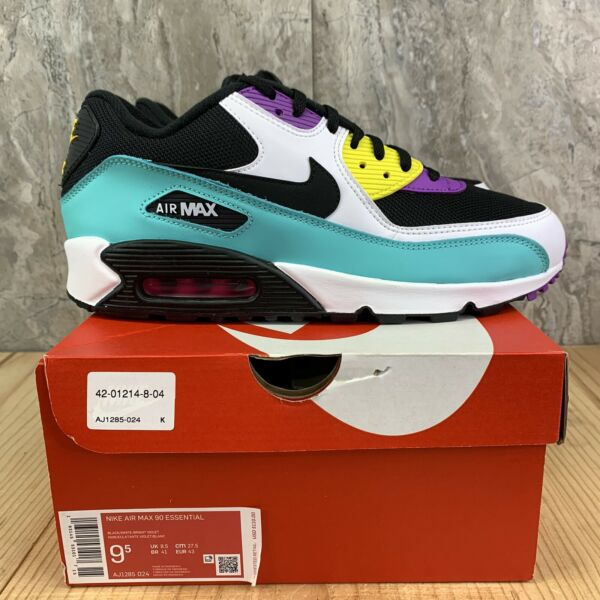 Nike Air Max 90 Essential Size 9.5 Mens Black White Bright Violet Casual Shoes
