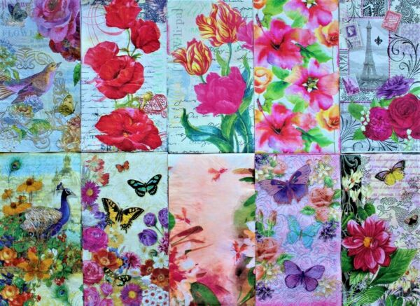 *POOCH & SWEETHEART 10 Ten Mixed Guest Paper Napkins Decoupage ~Floral~Butterfly $6.99