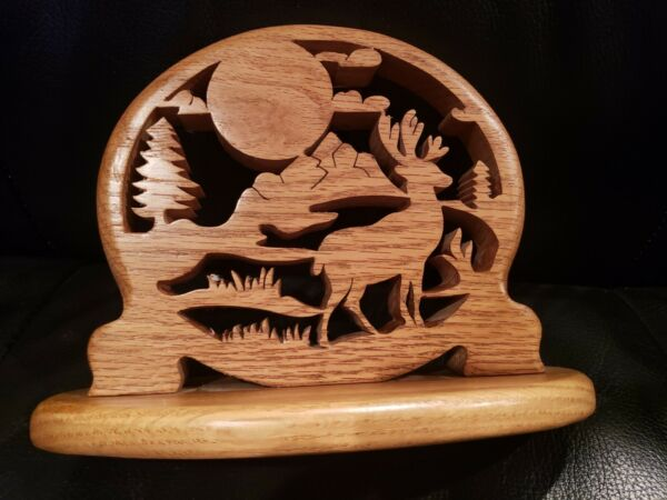 NEW Handcrafted Deer Woods Mountain Rack Oak Wood Decoration Country Hunting $17.99