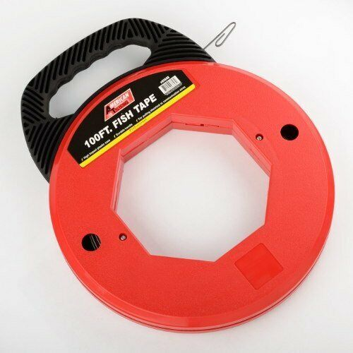 100 Ft Fish Tape Electrican Reel Pull Wires Cable Steel Hand Puller ATE Tools $21.95
