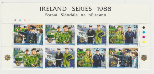 IRELAND Scott #723-726 Plate Block of 8 MNH 1988 Security Forces