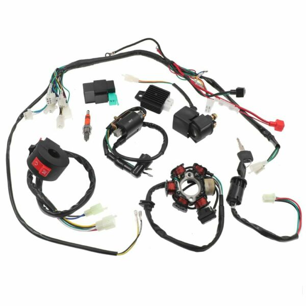 Electric Wiring Harness Wire Loom CDI Stator Kit for 50cc 110cc 125cc ATV QUAD $38.99