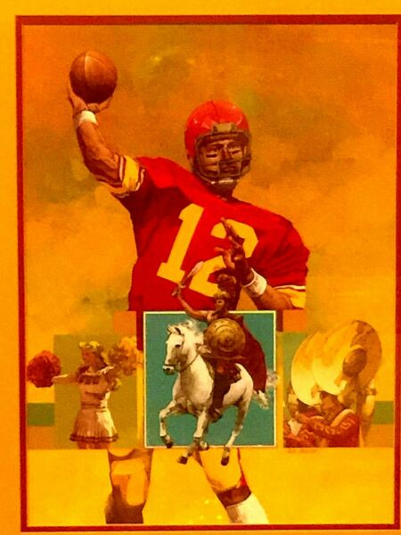 HPAINTED GOUACHE ON PAPER PAINTING FOOTBALL PLYER JOE MONTANA BY PAUL KRATTER