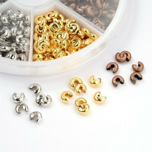 100pcs Round Covers Crimp End Beads Stopper Spacer Beads for DIY Jewelry Making $1.59