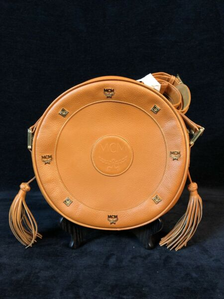 100% Authentic MCM Leather Vintage Germany Made Tambourine Cross Shoulder Bag