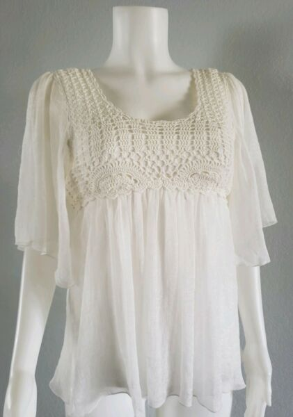 A diva Top Cami Crochet Top Sz Sm Sheer Ivory Baby Doll  Short Sleeves