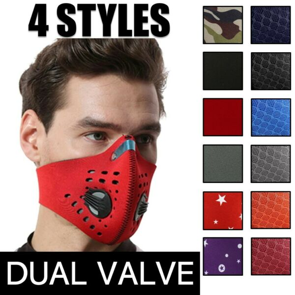 Reusable Dual Air Breathing Valve Face Mask Cover with Activated Carbon Filter $9.99