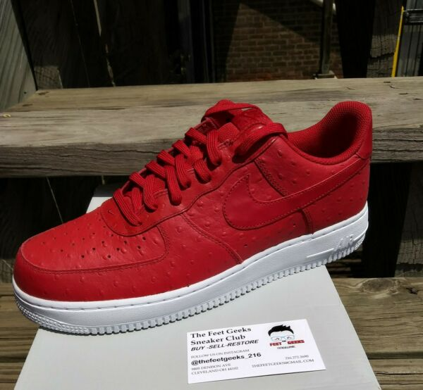 NIKE AIR FORCE 1 LOW RED OSTRICH SIZE 11.5 US MEN SHOES NEW WITH BOX $140