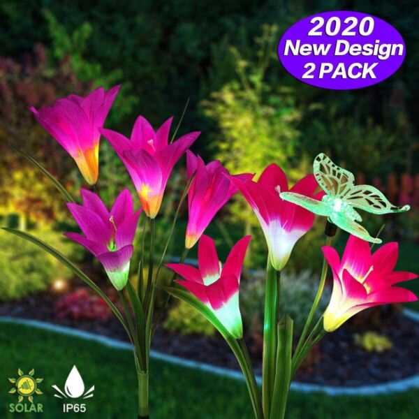 2-pack Solar Lily Flowers Garden Lights LED Outdoor Yard Decor Lamp Multi-Color
