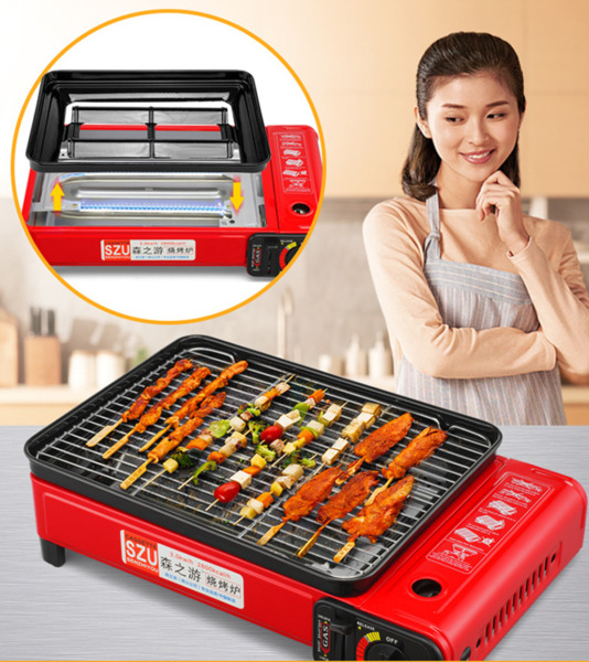 17quot; Portable Large Smokeless BBQ Grill Gas Stove tabletop Outdoor Home Picnic US