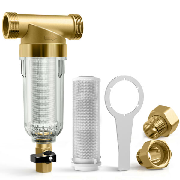 Whole House 4.5x 10#x27;#x27; Big Blue Water Filter Housing 1Inch Inlet Outlet Set