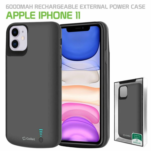 Apple iPhone 11 Heavy Duty Rechargeable Battery Case Cover 6000mAh by Cellet.