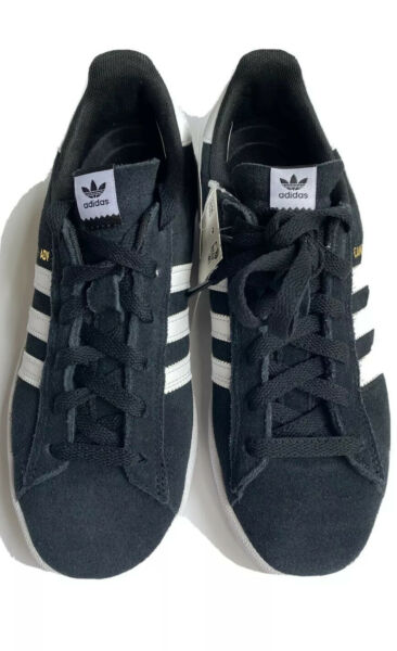 New Adidas Campus ADV Unisex Athletic Sneaker Shoes Black With White Stripe Sz 6