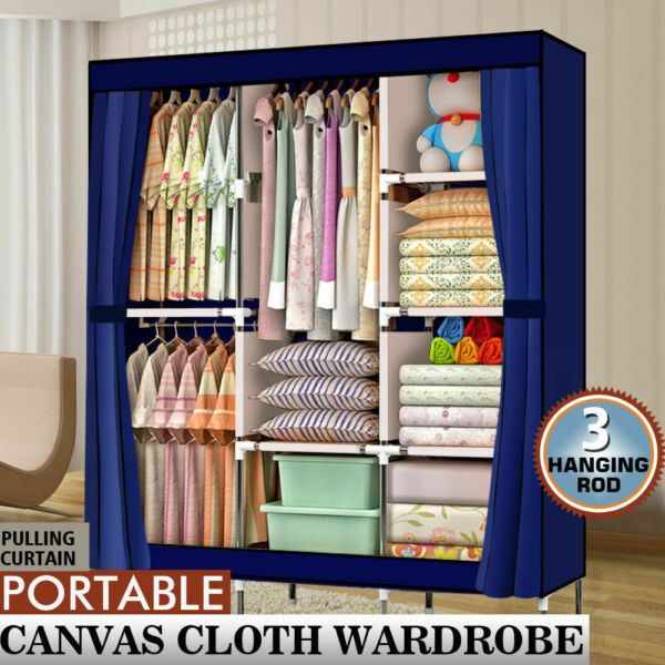 71quot; Portable Closet Wardrobe Clothes Rack Storage Organizer with Shelf Blue
