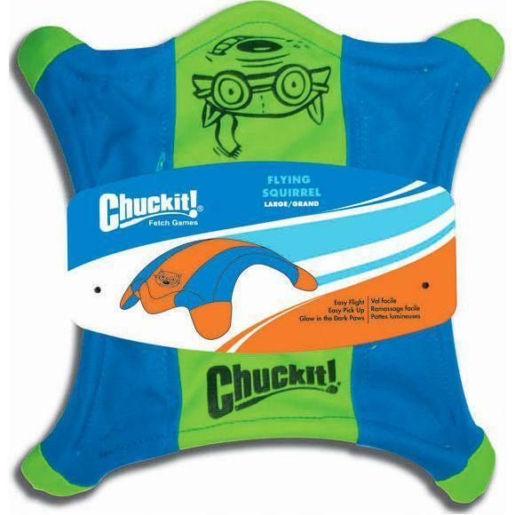 Chuckit FLYING SQUIRREL Dog Fetch Toy Floating Flyer Glowing Paws Large $16.99