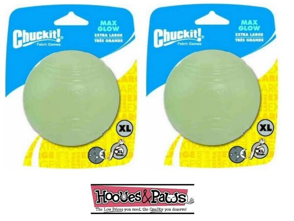 Chuckit Max Glow Ball Extra large 2pk pack Dog toy For in the Dark Fetch $24.22
