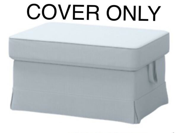 Ikea EKTORP COVER SLIPCOVER FOR Footstool Ottoman NORDVALLA LIGHT BLUE $79.78