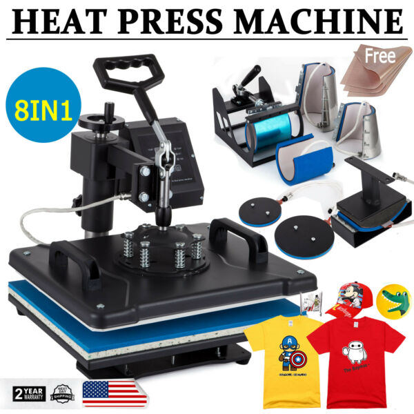 8 in 1 Heat Press Machine Swing Away Digital Sublimation T shirt Mug Plate Hat $178.00