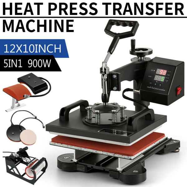 5 in 1 Heat Press Machine Swing Away Digital Sublimation T Shirt Mug Plate Hat $119.50