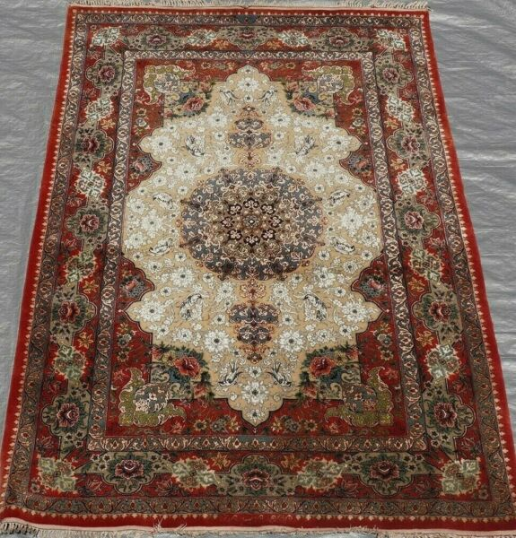 Silk Wool Antique Oriental Rug Premium Quality Hand Made Silk Foundation 4' x 6'