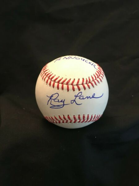 RAY LANE 1968 RADIO ANNOUNCER SIGNED OFFICIAL MLB BASEBALL 1968 TIGERS AUTOGRAPH