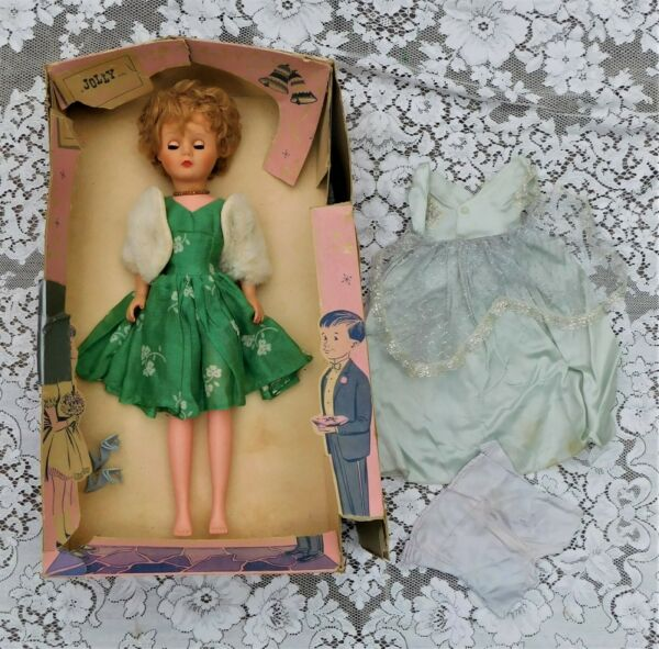 VINTAGE 1950'S JOLLY DOLL W TWO DRESSES AND ORIGINAL BOX