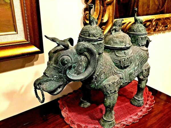 ANTIQUE 11-13th BC CHINESE BRONZE HUGE STATU BUFFALO VINE VESSEL EXTREMELY RARE