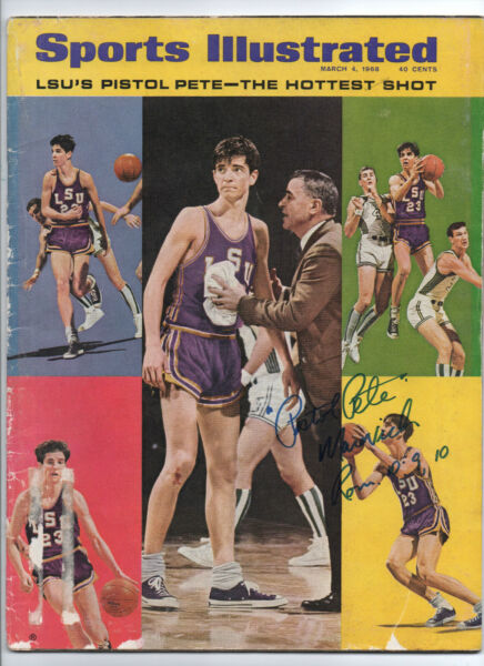 PISTOL PETE MARAVICH AUTOGRAPHED SIGND 3-4-1968 SPORTS ILLUSTRATED MAGAZINE