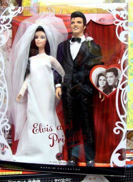 Excellent Elvis and Priscilla Barbie Dolls Wedding Doll Giftset  2008 MINT