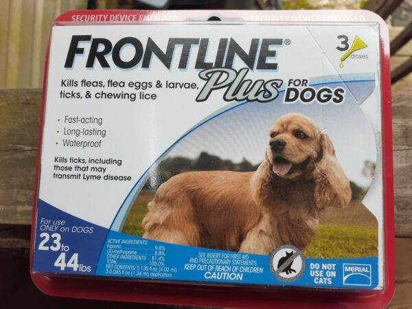 Frontline Plus for Dogs Flea Tick Control Spot On 3 Doses 23-44 Pounds $20.00