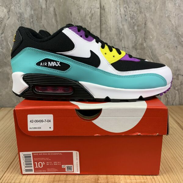 Nike Air Max 90 Essential Size 10.5 Mens Black White Bright Violet Casual Shoes