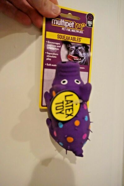 NWT MULTIPET  DOG TOY GLOBKEN PIG LATEX WITH SQUEAKER MINI PURPLE $5.99