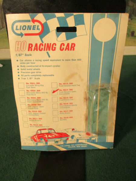 Vintage Lionel Card & Bubble Only Ford Galaxie T Jet Slot Car Chassis Parts