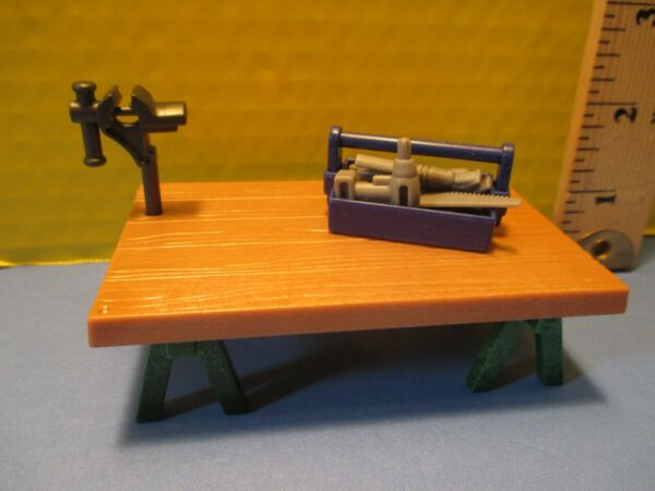 Playmobil furniture BROWN TRESTLE TABLE W CLAMP ON VISE TOOL BOX SIX TOOLS $3.99