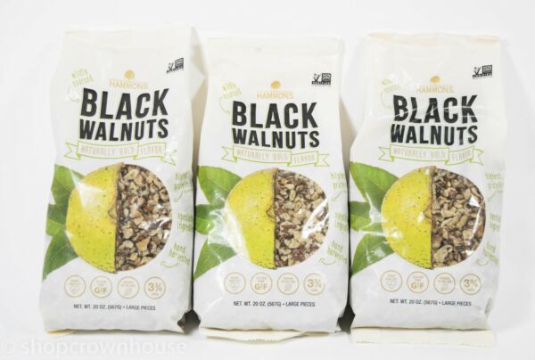 3 Hammons Black Walnuts Fancy Large Pieces 20oz Bags Non Gmo Nuts 02 09 2021 $49.49
