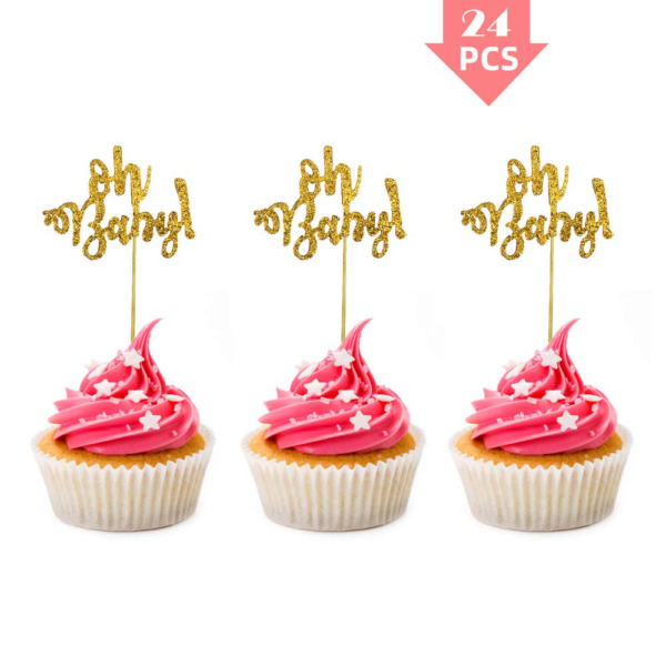 Cupcake Toppers 24 Pcs Glitter Oh Baby Cupcake Topper Picks For Baby Shower Par