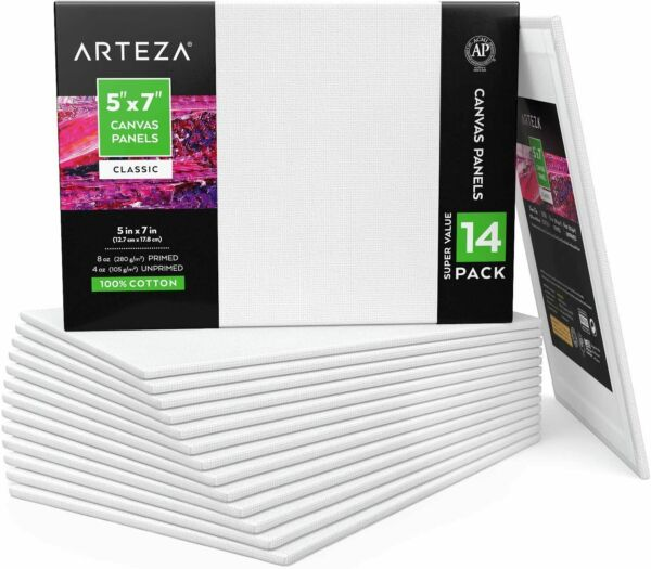 Arteza Canvas Panels 5 x 7 in - Pack of 14 $16.98