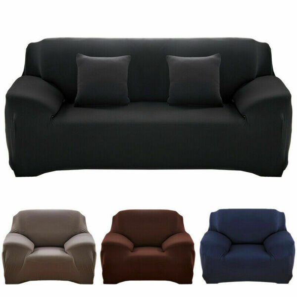 Solid Color Sofa Cover Stretch Seat Couch Covers Love Seat Funiture Slipcovers $27.99