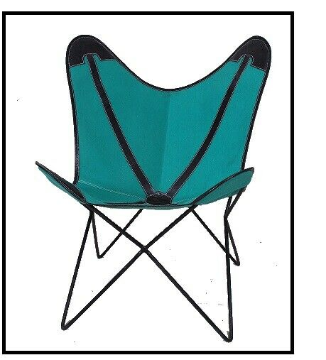 Spanish Blue Chair Iron Stand With Leather Cover for Indoor Outdoor $219.00